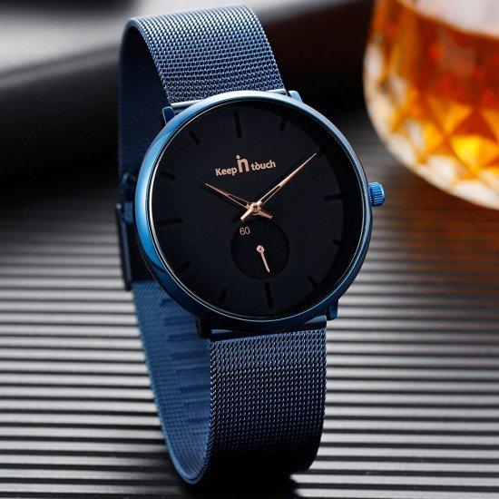 Alloy Blue Mesh Strap Waterproof Watch at discounted price - watch