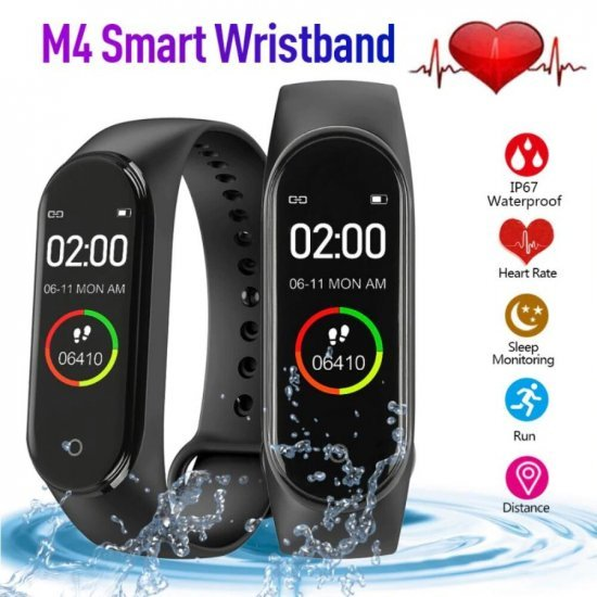 M4 - Smart Bracelet with Blood Pressure Monitoring and Water-Proof