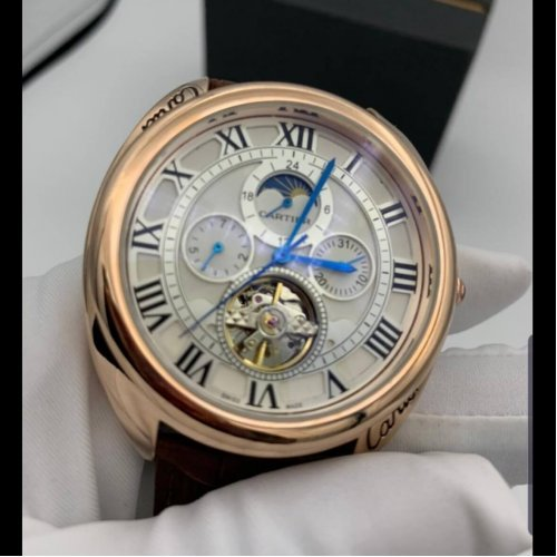 Catier Mechanical Watch Gold Black Leather Ct812