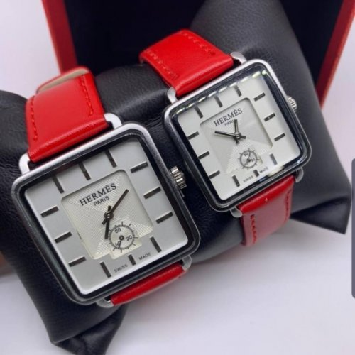 Hermes Couples Leather Watch Red Hm088