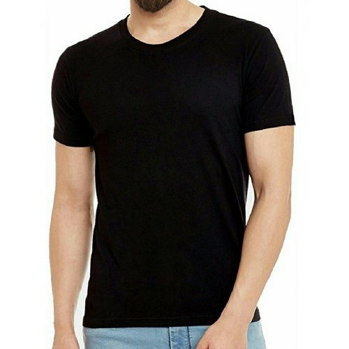 Plain Round Neck Shirt - Black