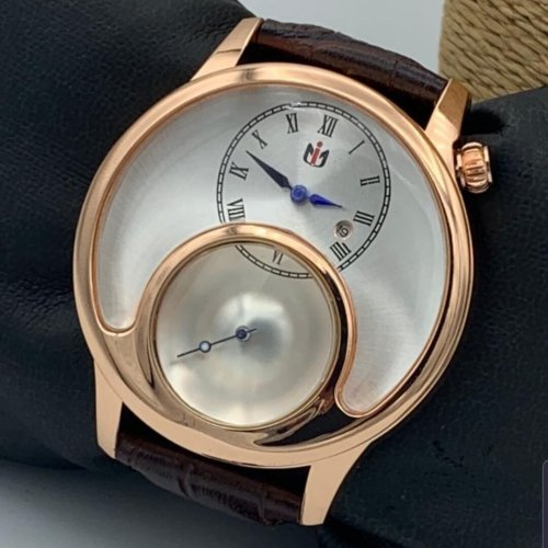 Nepic Casual Men Leather Watch Gold Brown Np012