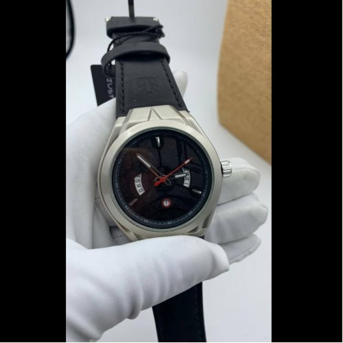 Nepic Casual Men Leather Watch Silver Black Np088