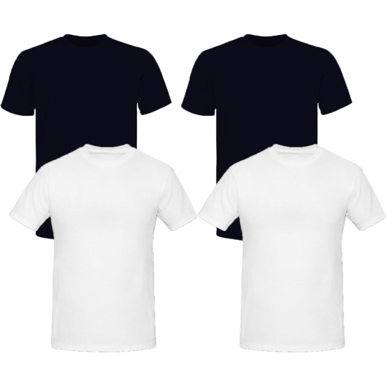 Pack Of Four Round Neck Shirts - 2 Black-2 White
