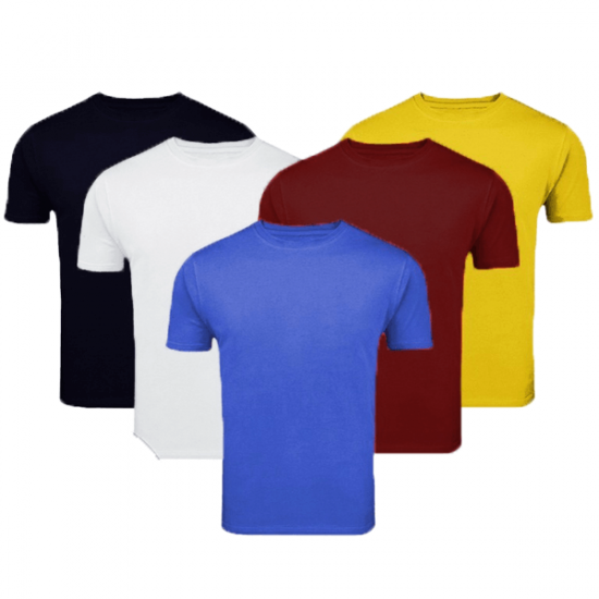Pack Of FIve Plain Round Neck Shirts