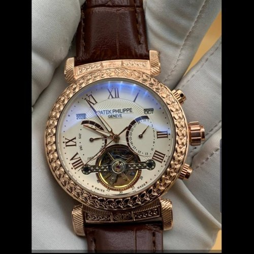 Patex Philippe Chronograph Mechanical Mens Leather Watch Gold Brown Pp401