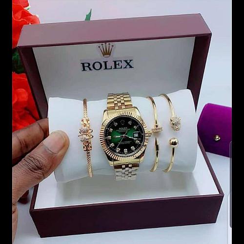 Rolex-Set-Casual-Watch-Gold-Green