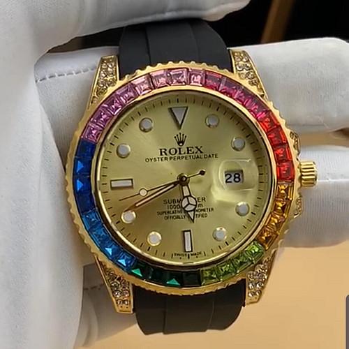 Rolex Stone Crest Casual Watch Gold Black Rx031
