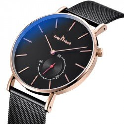 Stainless Steel Mesh Black-Gold Watch